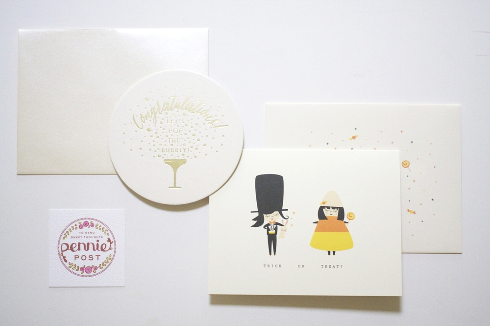 Bay Area based,  Pennie Post , sent these adorable stationary sets. Festive and just in time for Halloween!