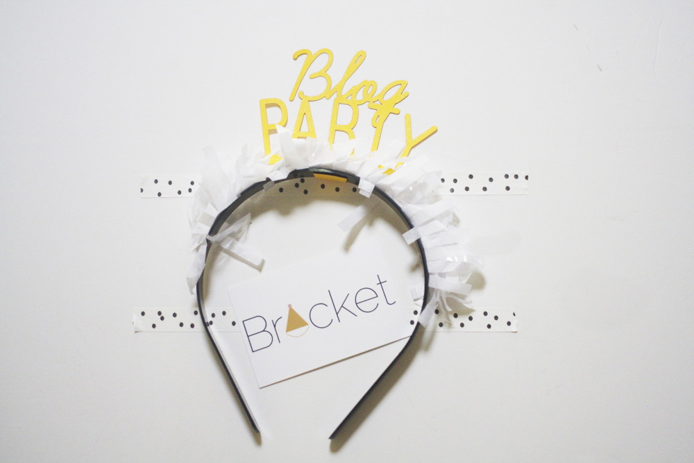 Custom party goods shop, Bracket, made us these amazing custom Blog Party headbands.