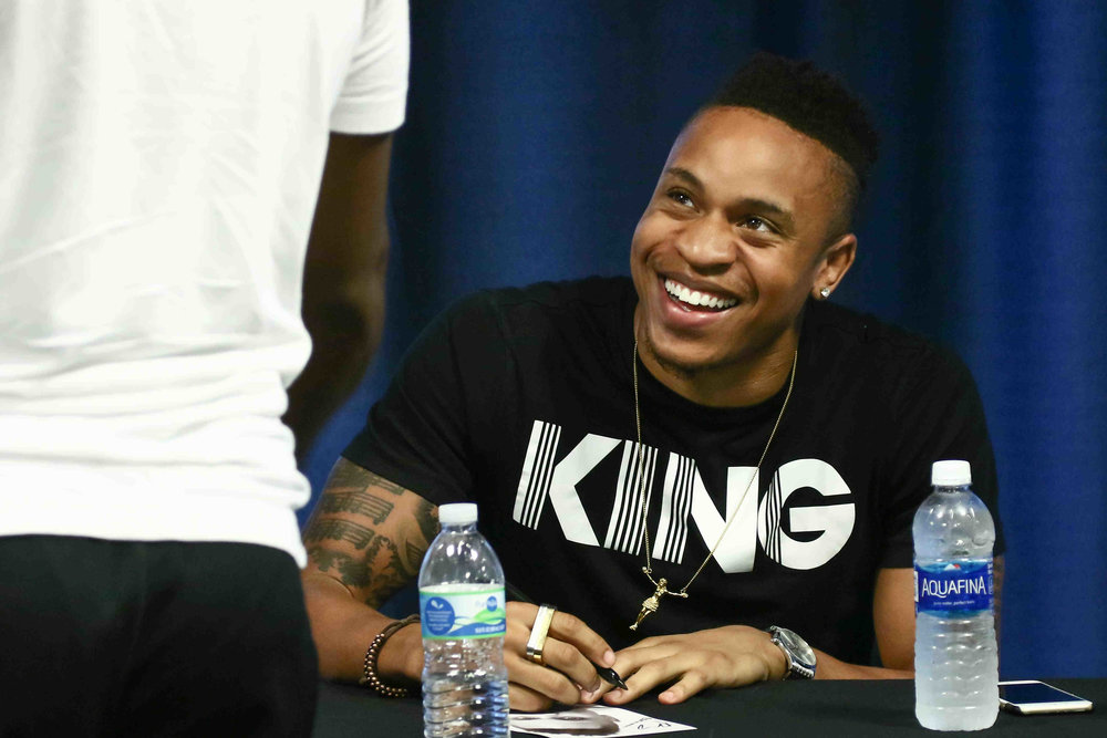 Rotimi all smiles signing his autograph for fans at the celebrity meet and greet  Shot by Saquan Stimpson/ZumaPress