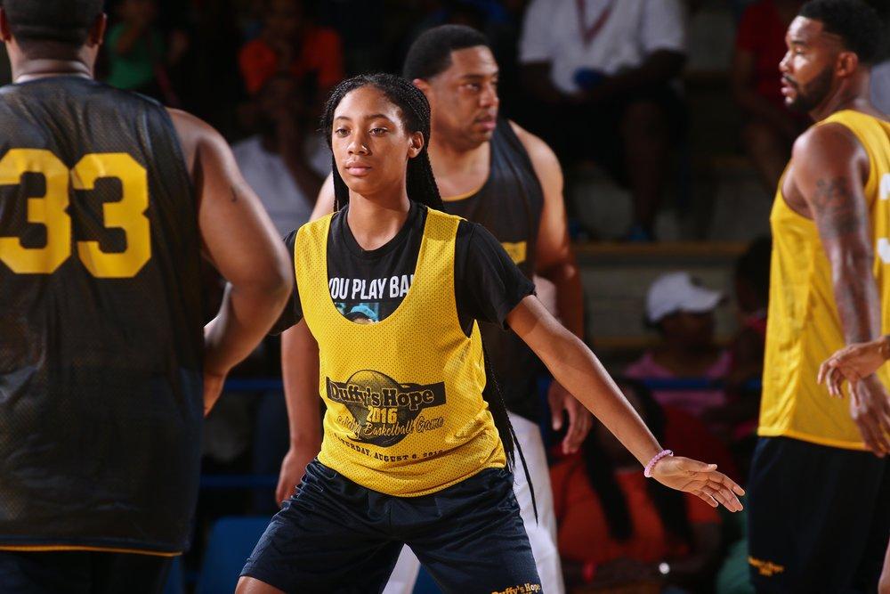 Mo'Ne Davis in serious defend mode  Shot by Saquan Stimpson/ZumaPress