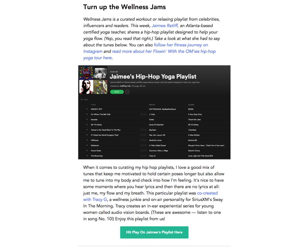 Jaimee Ratliff curated playlist for Huffington Post Wellness Wisdom newsletter