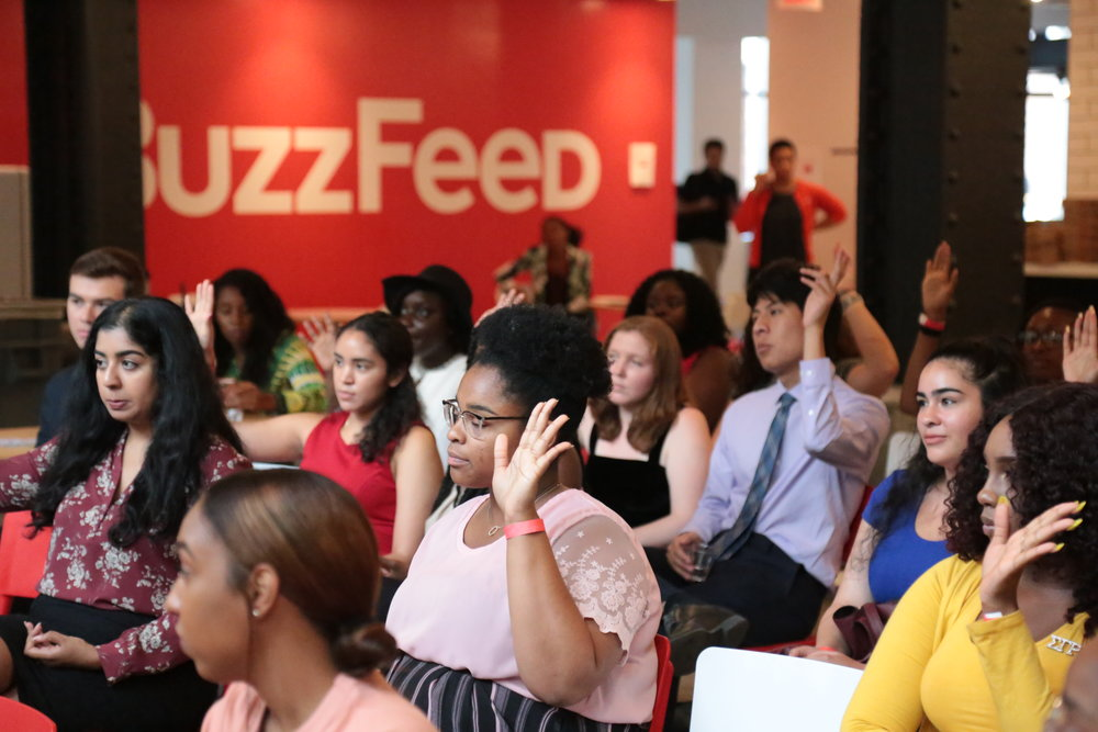 A crowd shot at More Than Grunt Work event co-hosted by Buzzfeed