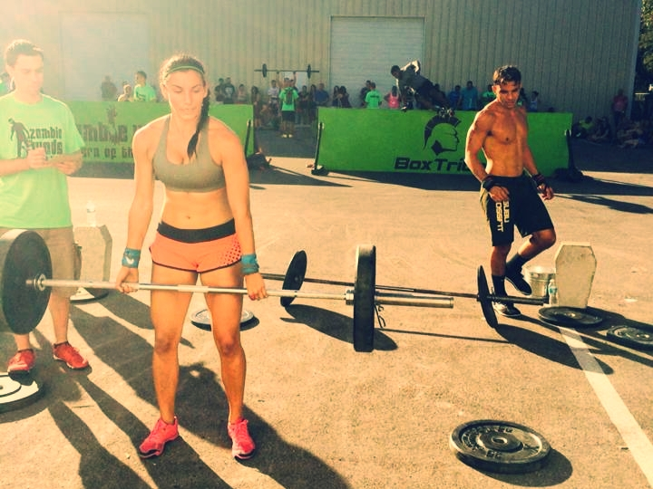 Coach Mia and Sal working through WOD 3 at last year's Zombie WODs