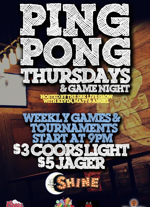 Ping Pong Thursdays flyer