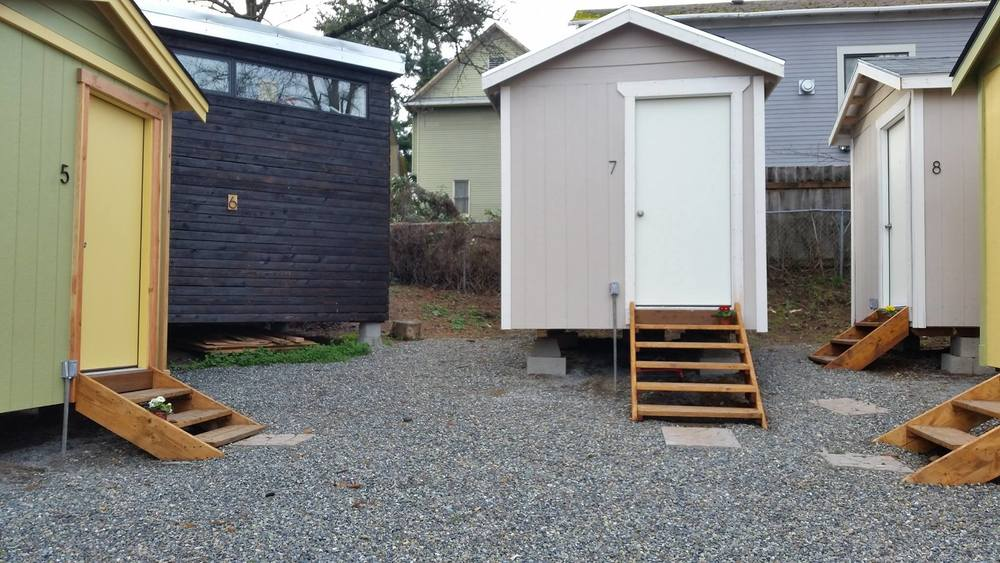 Three different models in the LIHI Tiny House Village