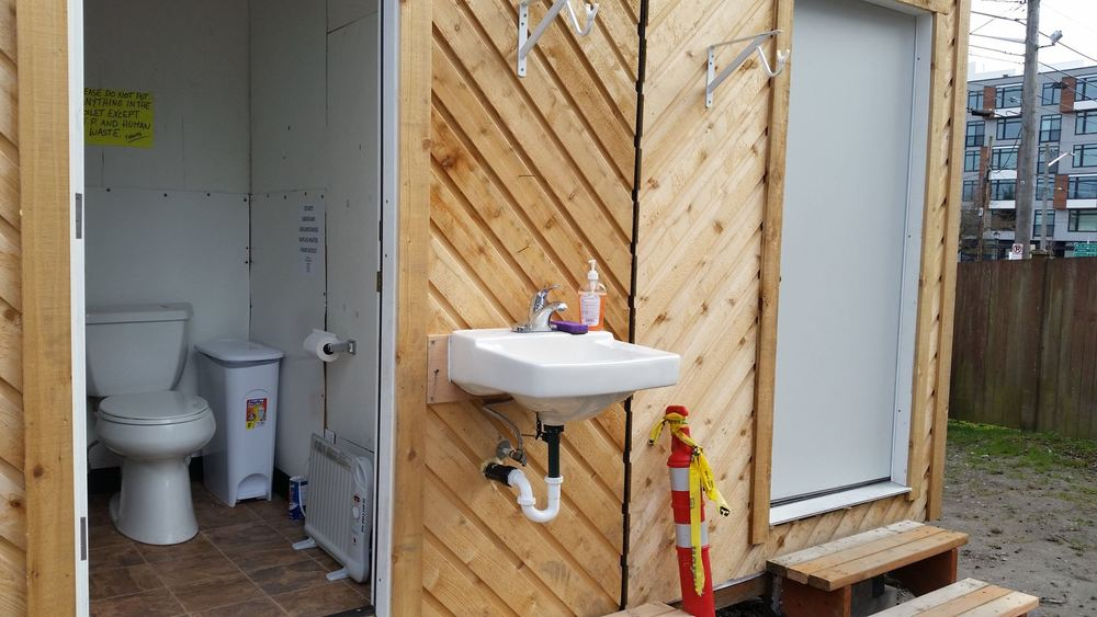 Tiny House Shared Restroom Facilities - Shower is on its way!