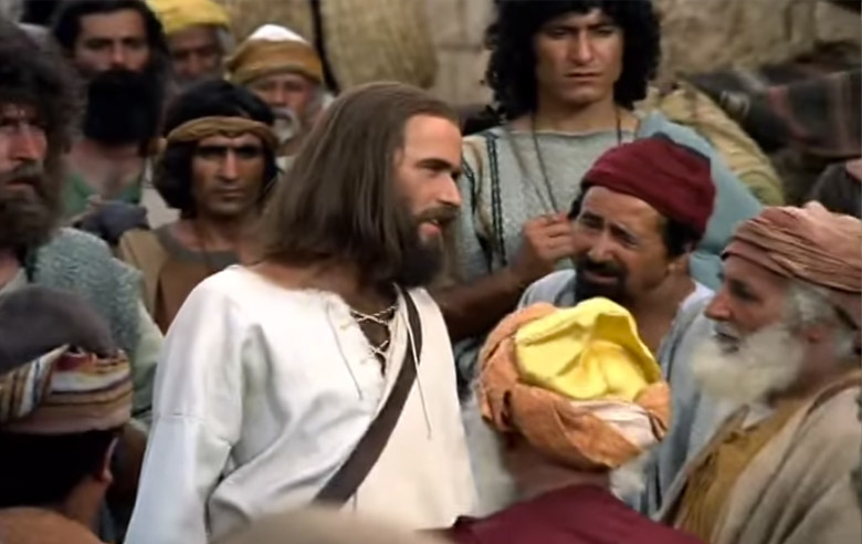Screengrab of Jesus speaking in the Luke Video Adaptation