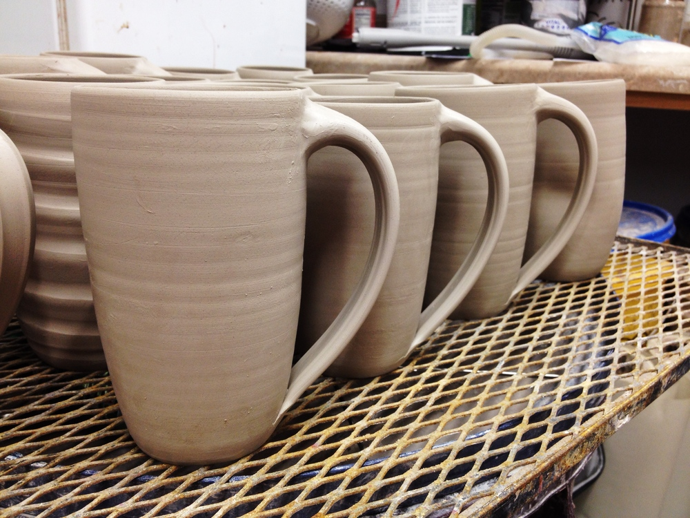 Greenware mugs. Once these are completely dry (bone dry), they will be bisque fired.