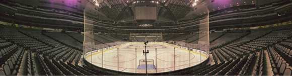 A recent panorama of an empty American Airlines Center