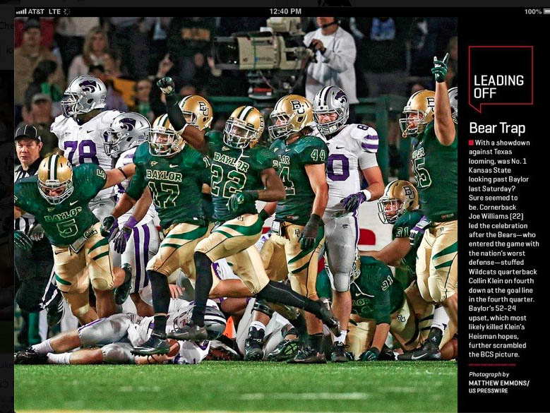 The photo by Matthew Emmons/US Presswire as it appeared in Sports Illustrated