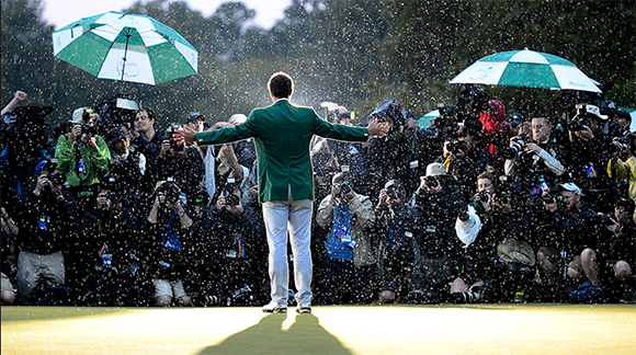 A victorious Adam Scott poses for photographers in his Green Jacket at the 2013 Masters (photo by Scott K. Brown/Augusta National)