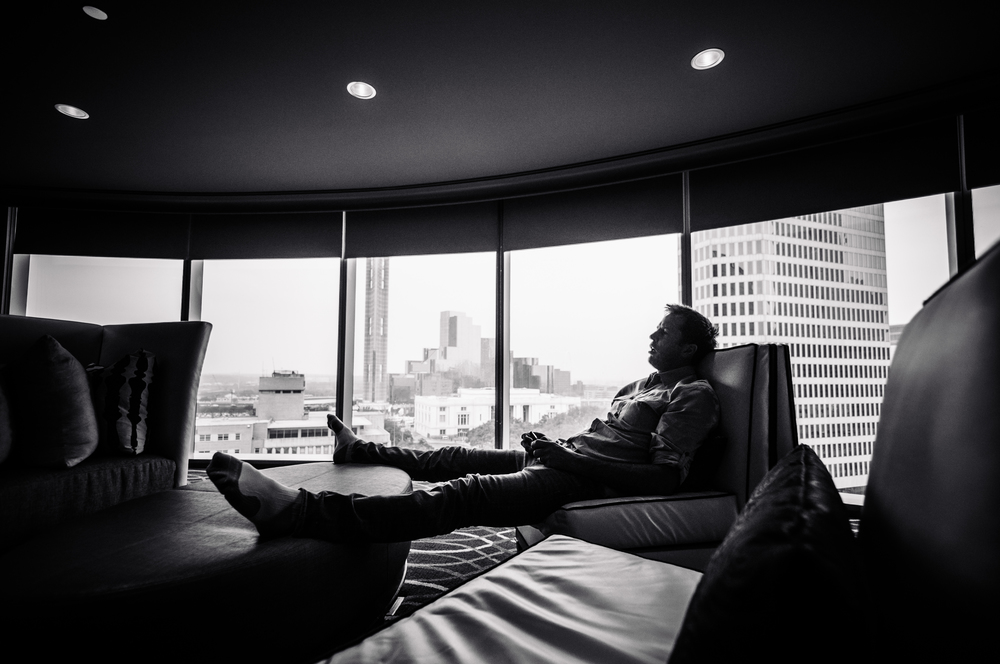 Mike Modano relaxes in his private suite at the Omni Hotel.