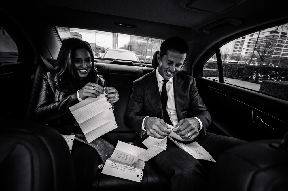 On the way to American Airlines Center, Mike & Allison tear the spiral fringe from Mike's handwritten notes.
