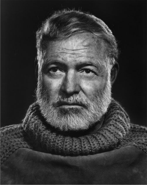 Ernest Hemingway , 1957. Photo by Yousuf Karsh.