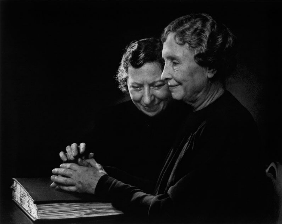 Helen Keller  with Polly Thompson, 1948. Photo by Yousuf Karsh.
