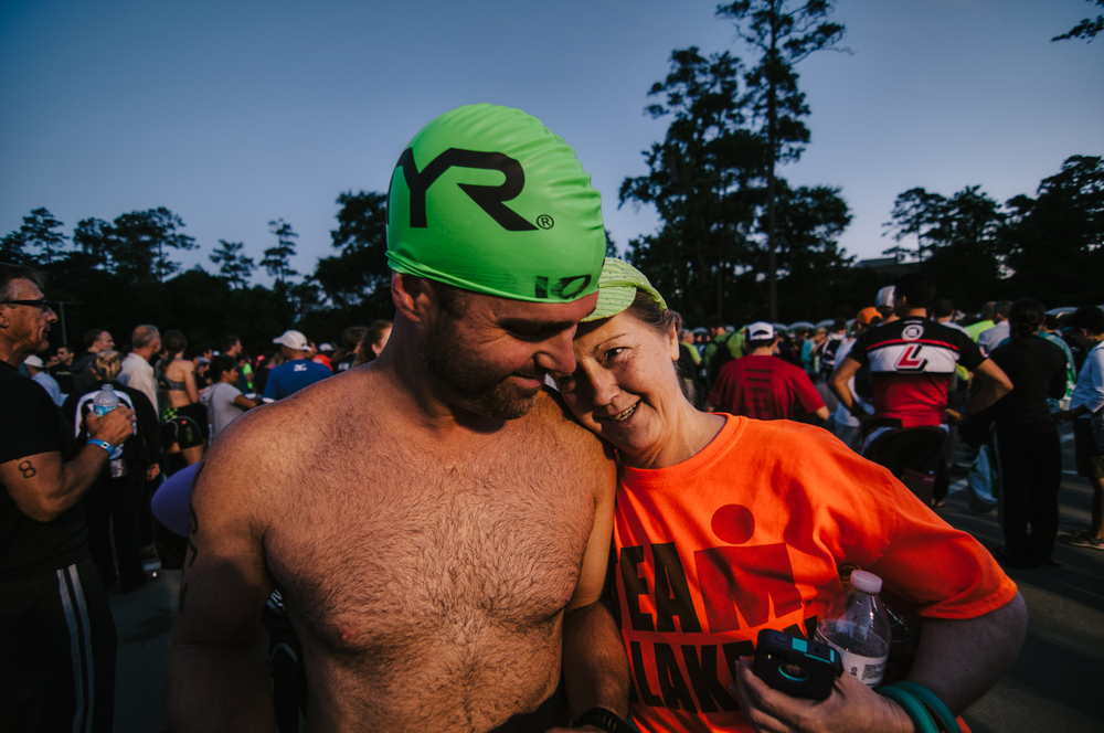 Jason and his mother, Susan, share a moment just before Team Blakely went in search of a good view of the start.