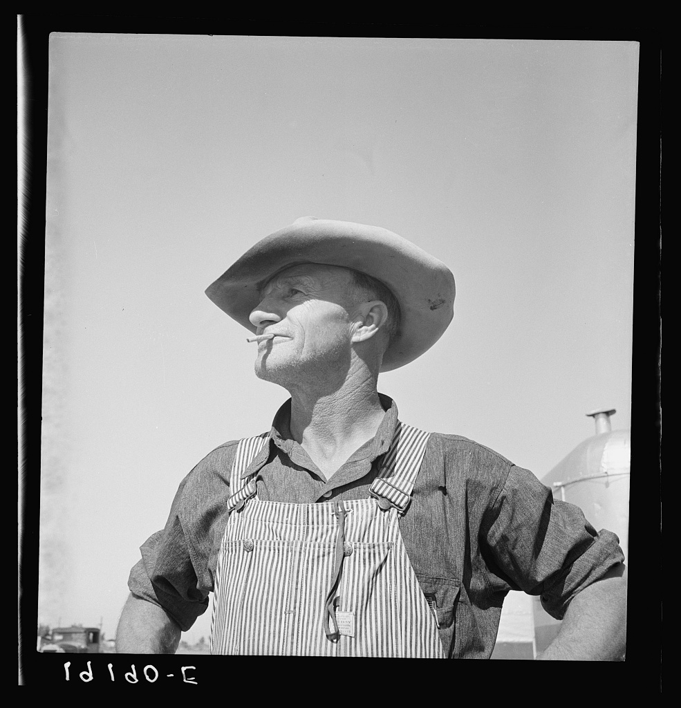 Nebraska farmer come to pick peas. Near Calipatria, California.