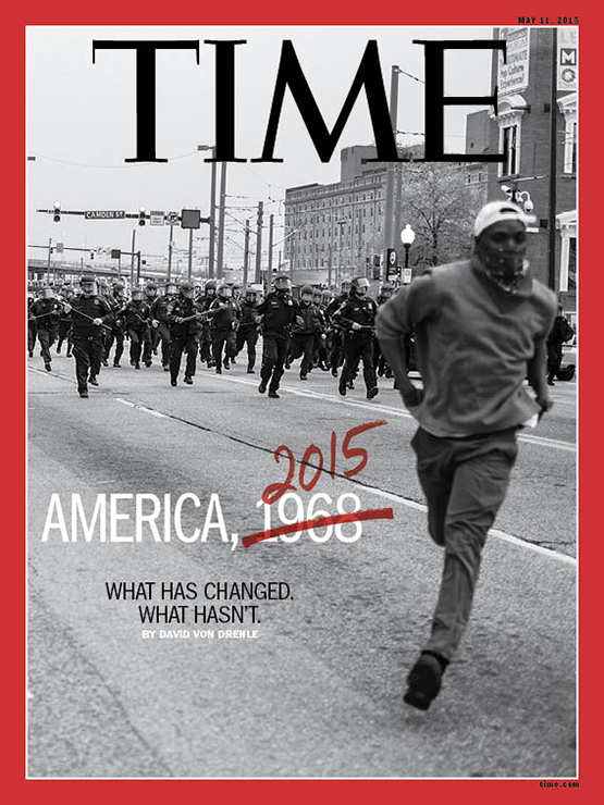 The May 11, 2015 cover of   TIME   Magazine. Photo by Devin Allen.