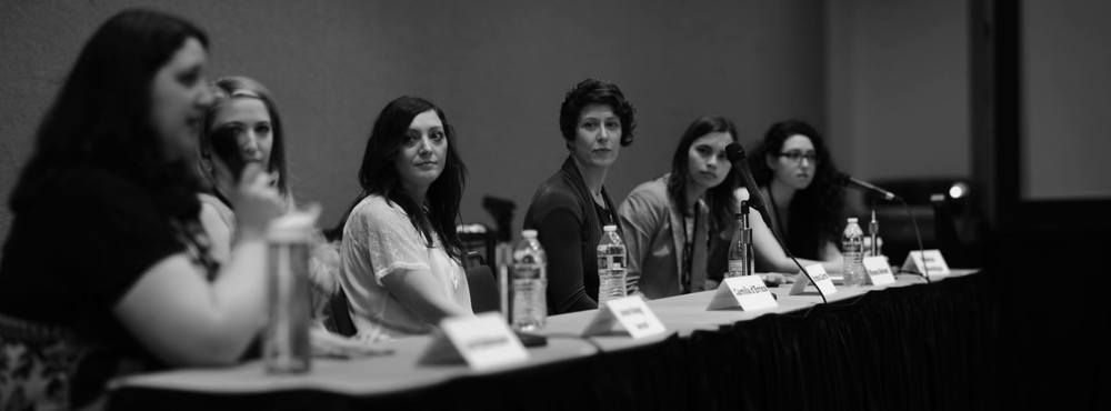 Photo courtesy of www.spectrumfantasticartlive.com  (from left to right) Zoë Robinson, Annie Stegg, Camilla d'Errico,  Kristina Carroll,  Winona Nelson, and Rebecca Yanovskaya