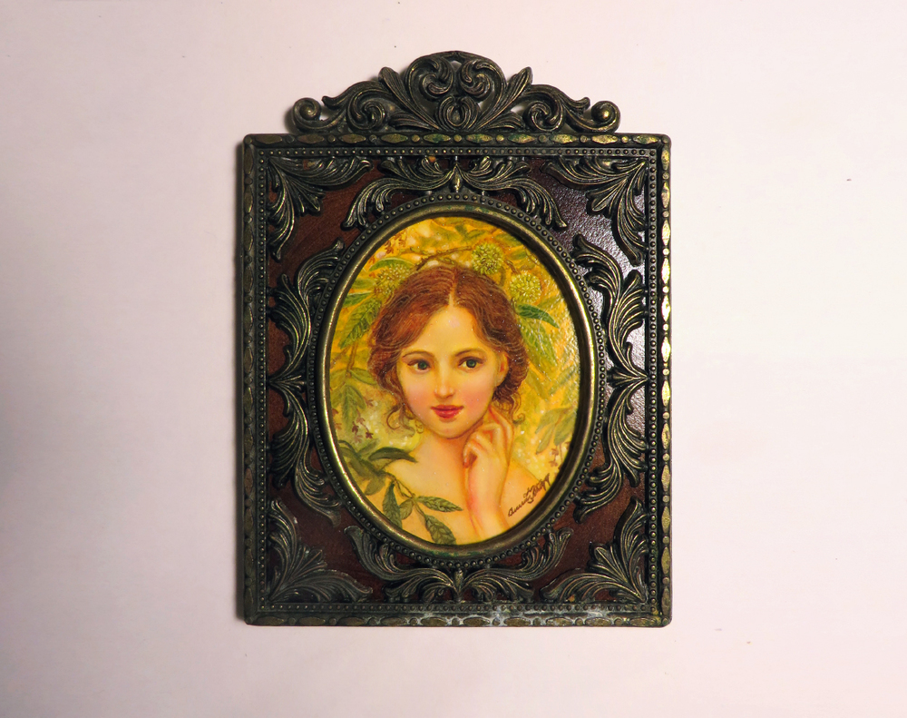 """Karya"" the nymph of the nut tree Annie Stegg Gerard 2.5""x3"" oil  on Strathmore series 500"