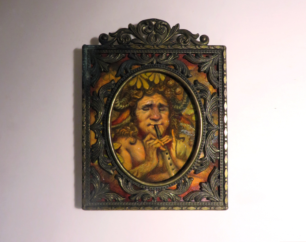 """Faun of Karya"" the faun of the nut tree Justin Gerard 2.5""x3"" oil  on Strathmore series 500"