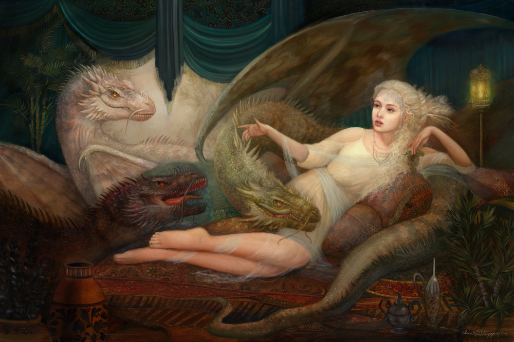 """Mother of Dragons"" 36x24, oil on board, June 2015"