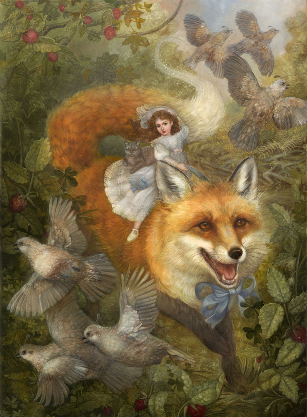"""Renard and the Strawberries"", 12x16, oil on board"