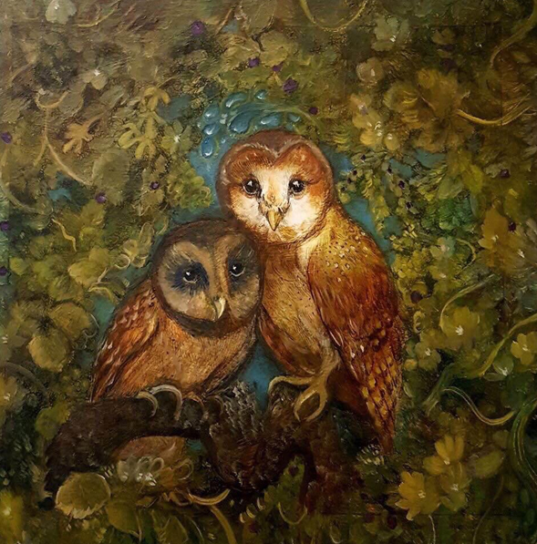 """I chose this as 2nd place because it really stands out. I love the colour choices and I admire the atmosphere that's been created using oil paints. The owls colours are warm and beautiful with clever use of light on their faces."" -Nikki Hodges"