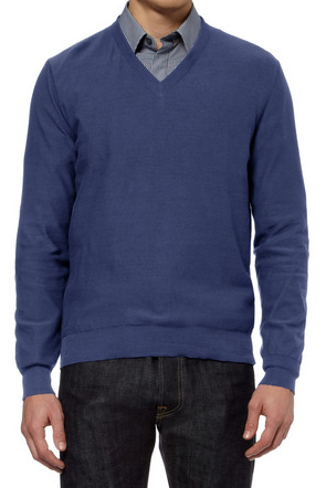Maison Martin Margiela Suede Elbow Patch Knitted Cotton Sweater