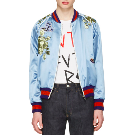 Gucci Blue Embroidered Silk Bomber