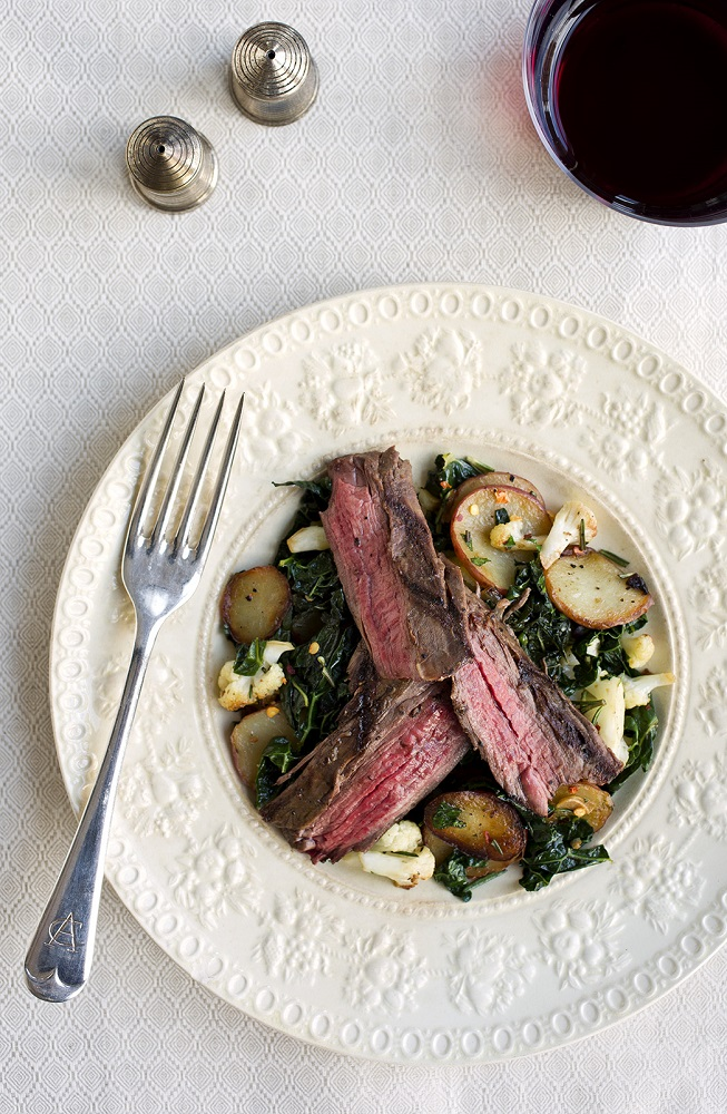 Grilled Steak with Potato Cauliflower Hash