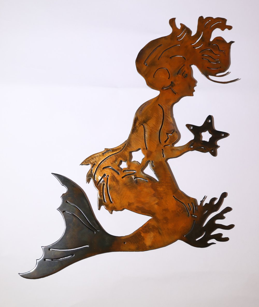 Superbe Mermaid And Starfish Metal Wall Art