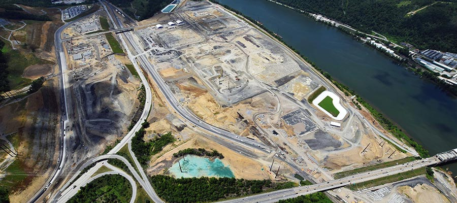 Shell's ethane cracker, under construction in Beaver County, PA. Image by Ted Auch, FracTracker. Aerial support provided by LightHawk.
