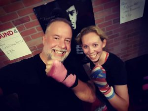Jeanne Boone and Chris Abraham at 9Round Penrose Square Arlington Virginia off Columbia Pike