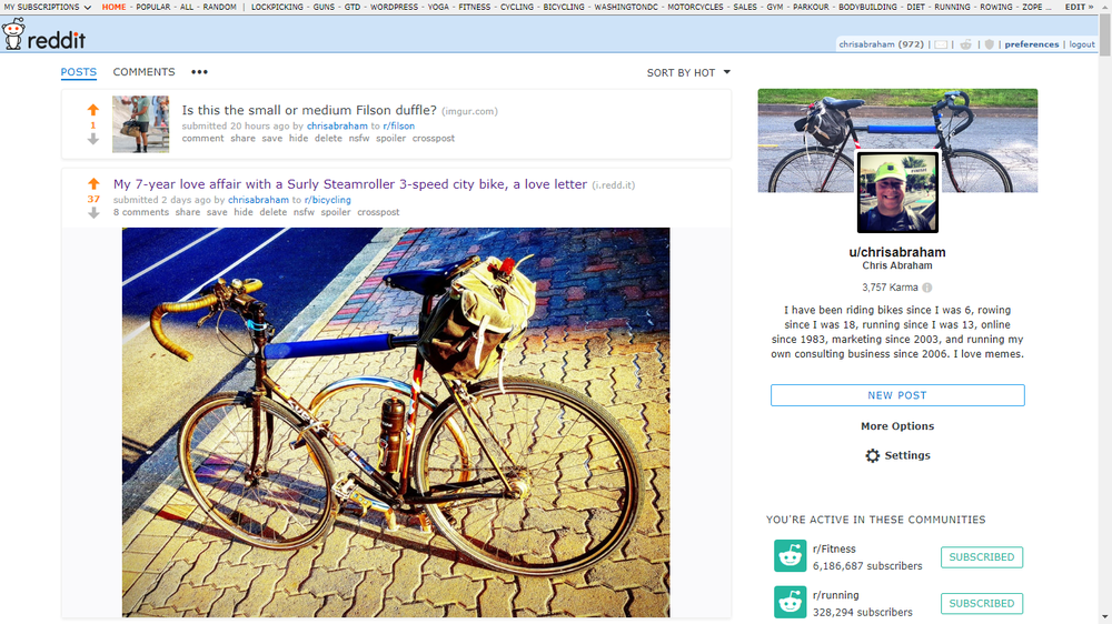 """Reddit just offered me the ability to have a lovely twitter-like new profile page with profile image and header photo. This started rolling out 5-months ago. I have been on reddit for over 11-years and it's taken 5-months to receive this """"post-to-profile"""" experience. I had spent two days writing a blog post love letter to my 7-year old bike over the weekend and ended up sharing that love with the /r/bicycling/ sub on reddit. While there, reddit offered me a new user experience and user page, /u/chrisabraham/.  Unlike before, where you would have to take your chances posting your links and content to a proper subreddit, you can now post whenever you want to on your own profile page.  Those profile posts will be combined with your other submissions to create something more akin to the love child of Facebook, Twitter, digg, and del.icio.us.  So, in digg or Delicious, you can submit your own links or content to your own profile and other people are welcome to comment or upvote (or downvote) but they're not allowed to drum you out of the corps because you're only sharing–or shilling–on your own space.  I personally have no clue as to if this personal profile space will will have any effect on organic SEO, but it does look like something very worthwhile experimenting on. Here's what the entire experience looks like when I come upon my own page:  New Reddit User Profile Page and Moderator Tools Here's what I see when I am logged in and on my user page, /u/chrisabraham/ And here's what the profile page looks like when I am not logged in — so, the page is public to anyone, which is cool:  Chris Abraham user profile page on reddit Here's what my reddit profile page looks like when I am not logged in. I am not 100% certain if this means that these pages are SEO friendly enough to really benefit from the inbound links coming in from sharing your own marketing blog or business blog content on your own profile page; however, I come from the school that crossposting all my content"""