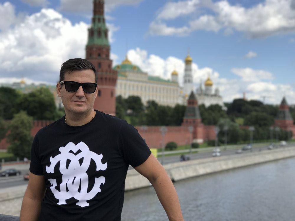 Sergey Krayev in Moscow overlooking the Kremlin