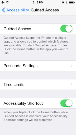 Enabling Guided Access on an iPhone.
