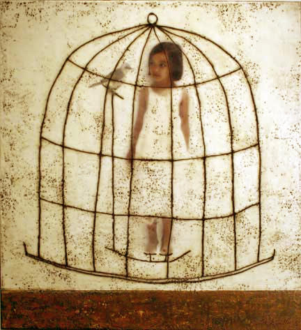 "Finding Oneself I, 2005, 36"" X 40"", Mixed Media/Encaustic (Sarah) (sold)"