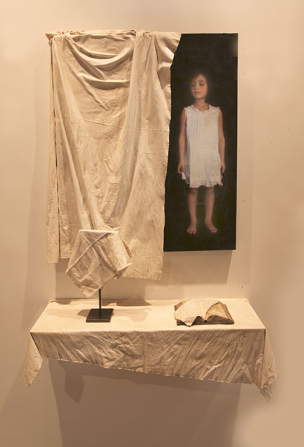 "Veiled I Installation, 2011, 42"" X 32"" X 5"" painting, 36"" X 12"" X 13"" shelf + objects, Mixed Media/Resin (Samantha) (sold)"