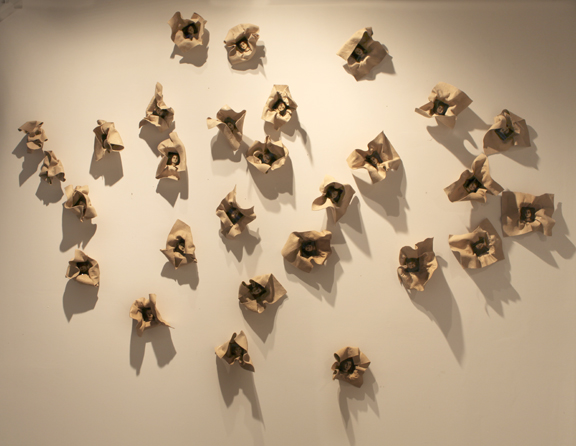 Unfolding Life Installation, 28 parts, 2011, various sizes, Mixed Media/Resin,/Rubber/Canvas (Samantha) (sold)