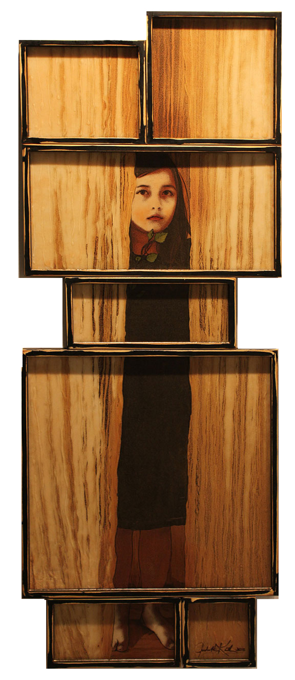"Not Afraid, 7 panels, 2012, 67""x25"",  Mixed Media/Rubber (Anna)"