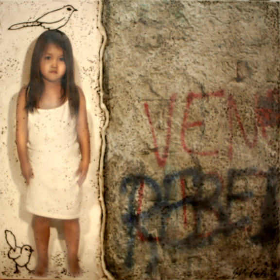 "Surface with a Child and Two Birds, 2006,  30"" X 30 "" , Mixed media/Encaustics (Anna) (sold)"