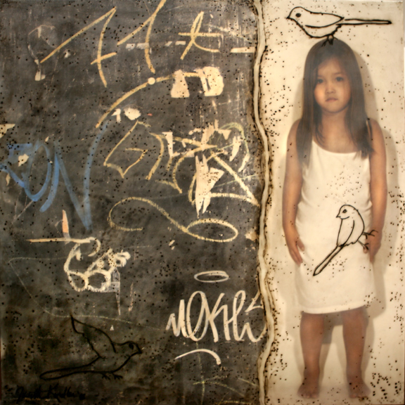 "Surface with a Child and Three Birds, 2006,  30"" X 30 "" , Mixed media/Encaustics (Anna) (sold)"