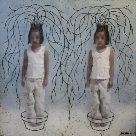 "Rooted, 2007,  48""x48""  Mixed Media/Encaustics (Sarah)"
