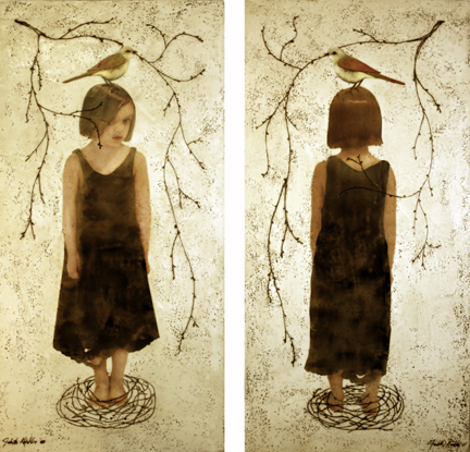 "Nest I and II , 2007, 48""x24"", Mixed Media/Encaustics (Sarah) (sold)"
