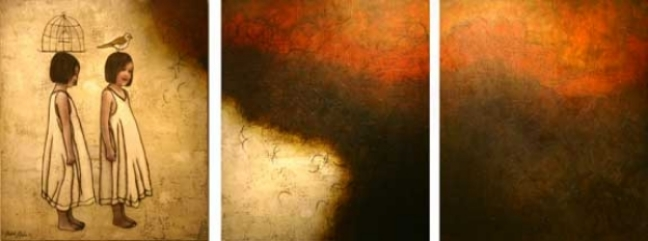 "Contemplation II, 2005,  36"" X 120"", Mixed Media/Encaustic (Sarah) (sold)"