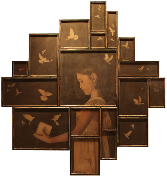 "Bird Catcher, 2012, Mixed Media on 18 panels, 77"" X 71 (sold)"