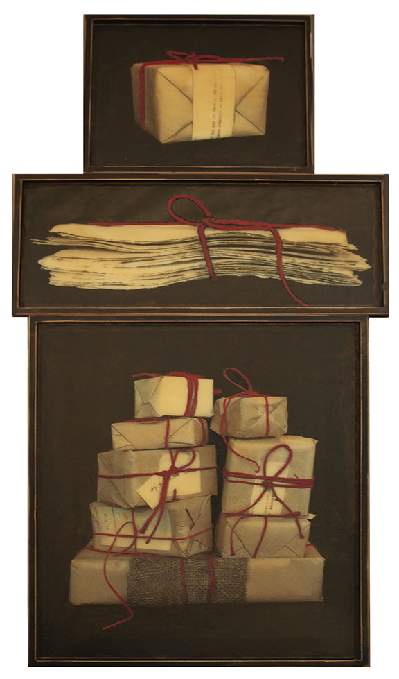 "All Packaged Up, 2012, Mixed Media on 3 panels, 62.75"" X 31"