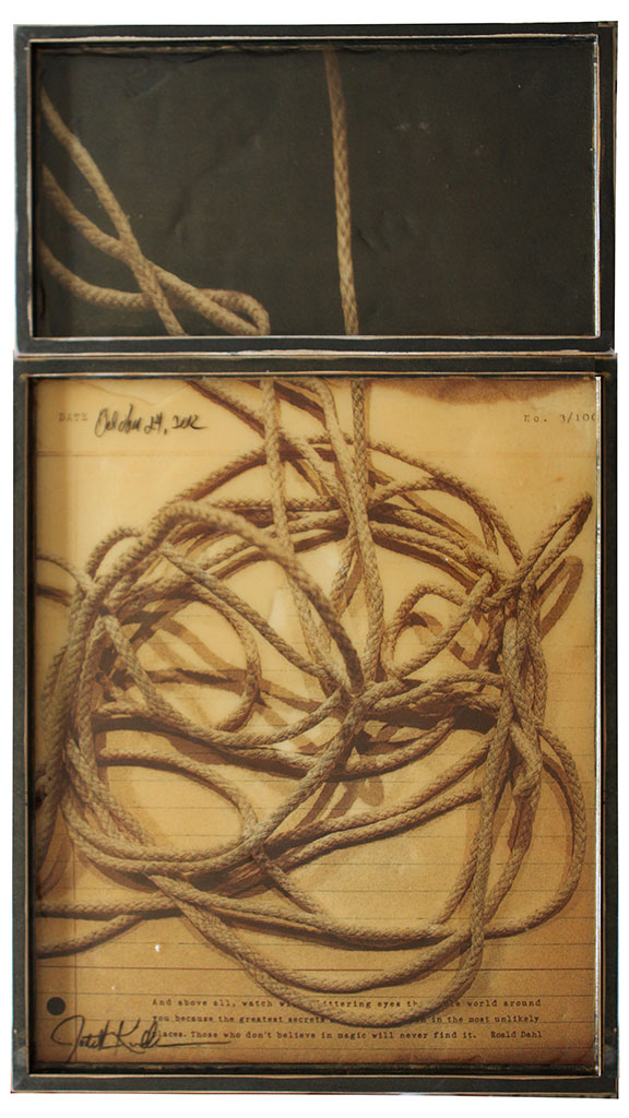 "Rope, 2012, Mixed Media on 2 panels, 37.5"" X 21 (sold)"