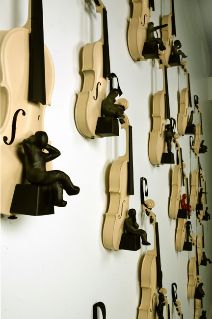 My Story, View of a 21 violin installation, 2009, Mixed Media (sold)